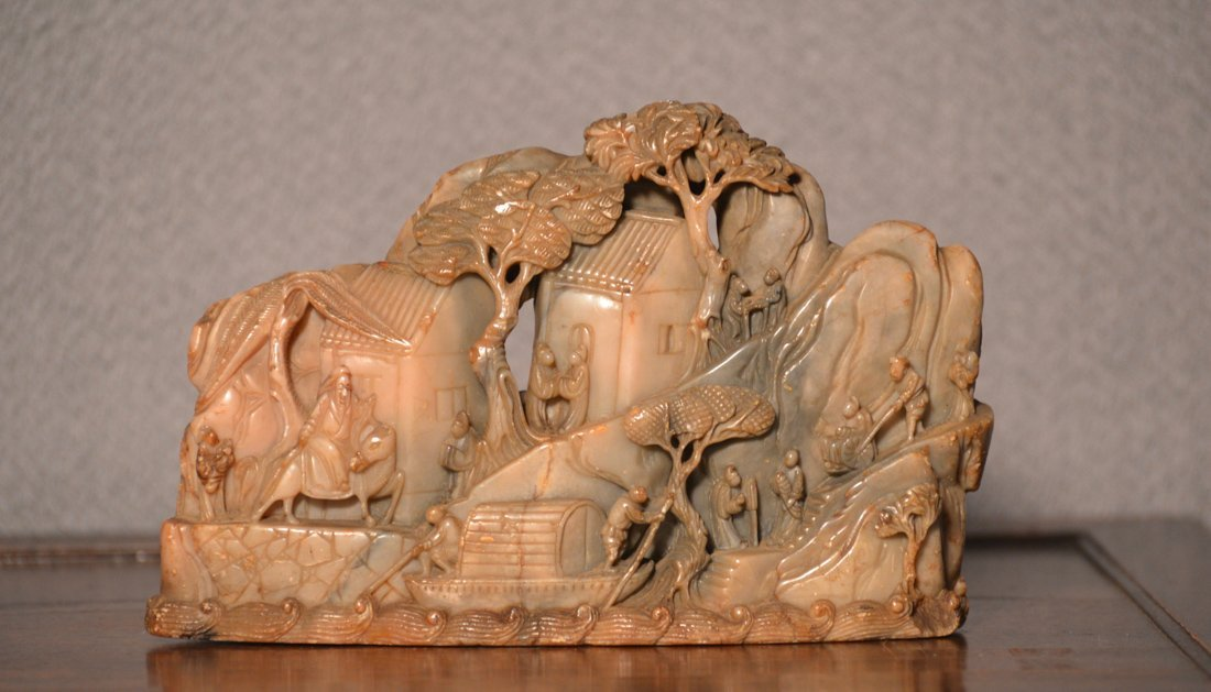 Chinese Soapstone Mountain with Scholar Scene