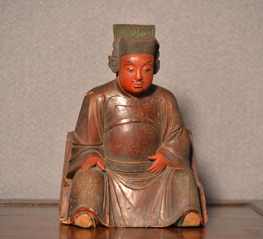 Chinese Wood Seated Officer with Lacquer