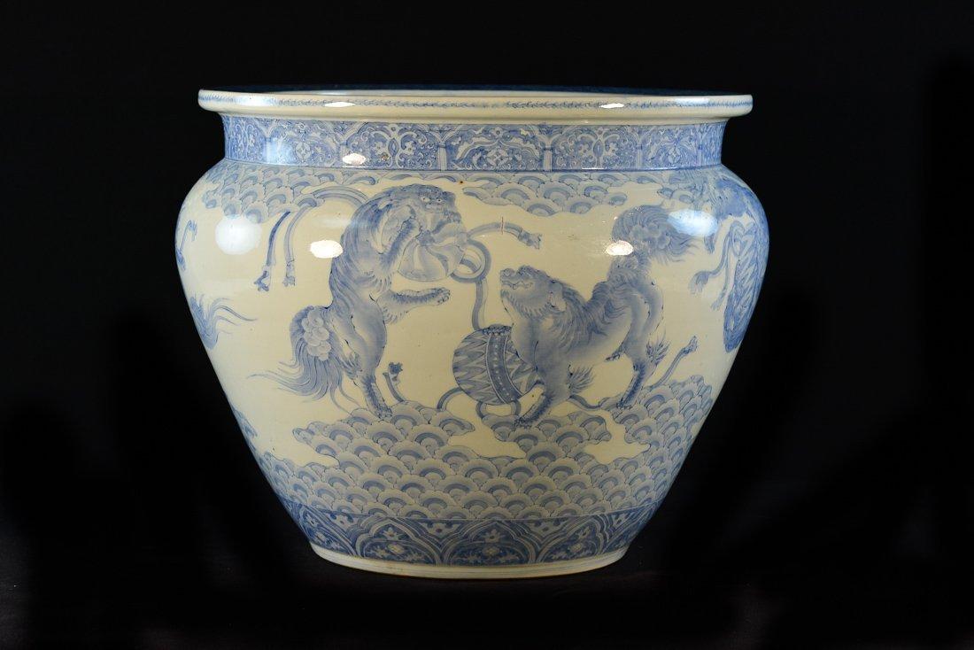 Japanese Blue White Arita Porcelain Fish Bowl - Kirin