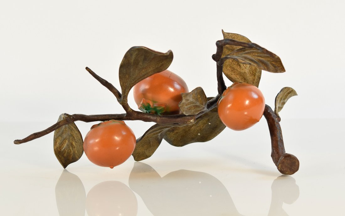 Japanese Bronze Group of Bird and Persimmons - 10