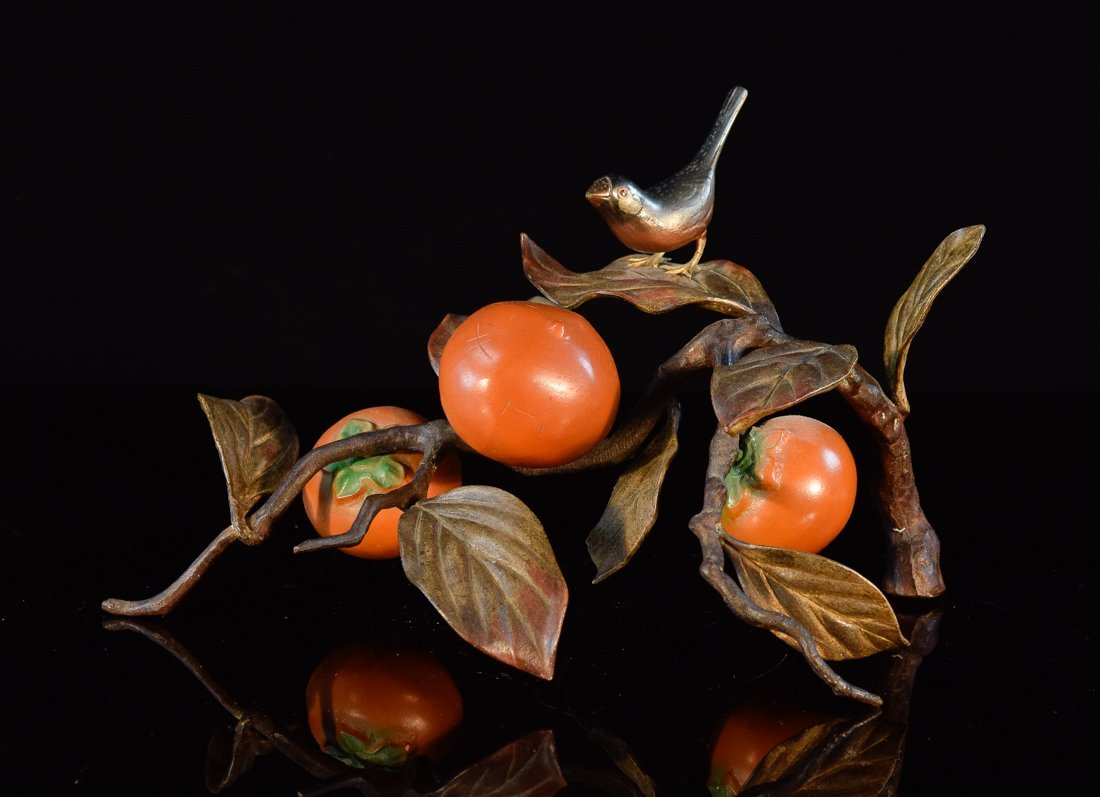 Japanese Bronze Group of Bird and Persimmons