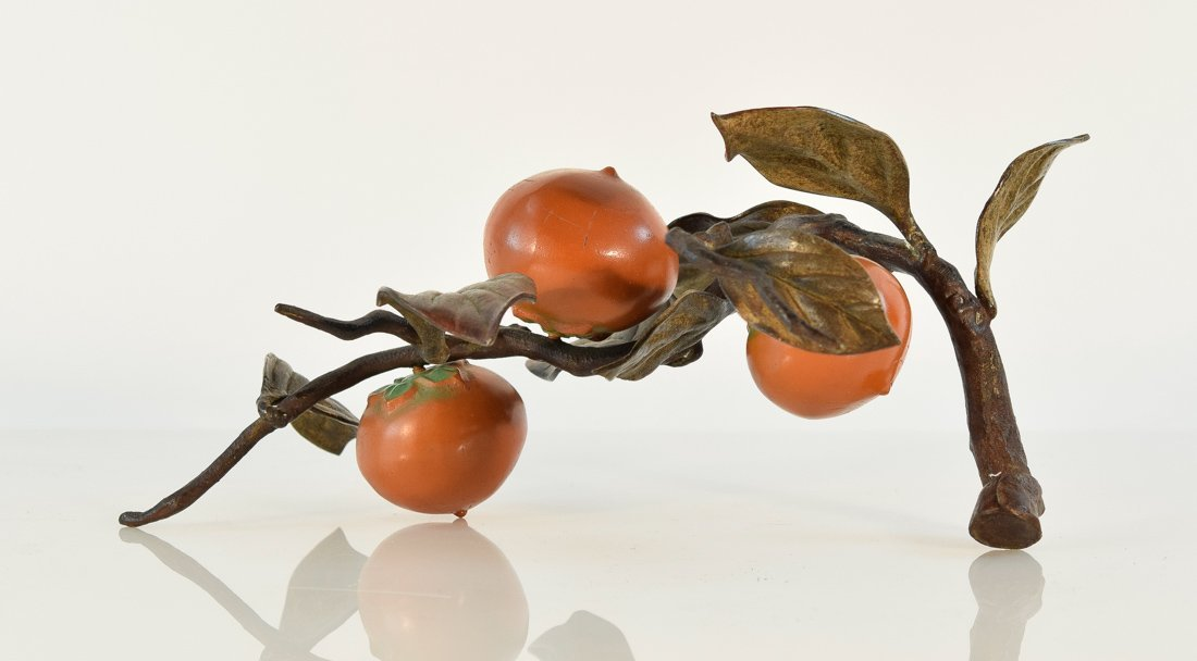 Japanese Bronze Group of Bird and Persimmons - 3