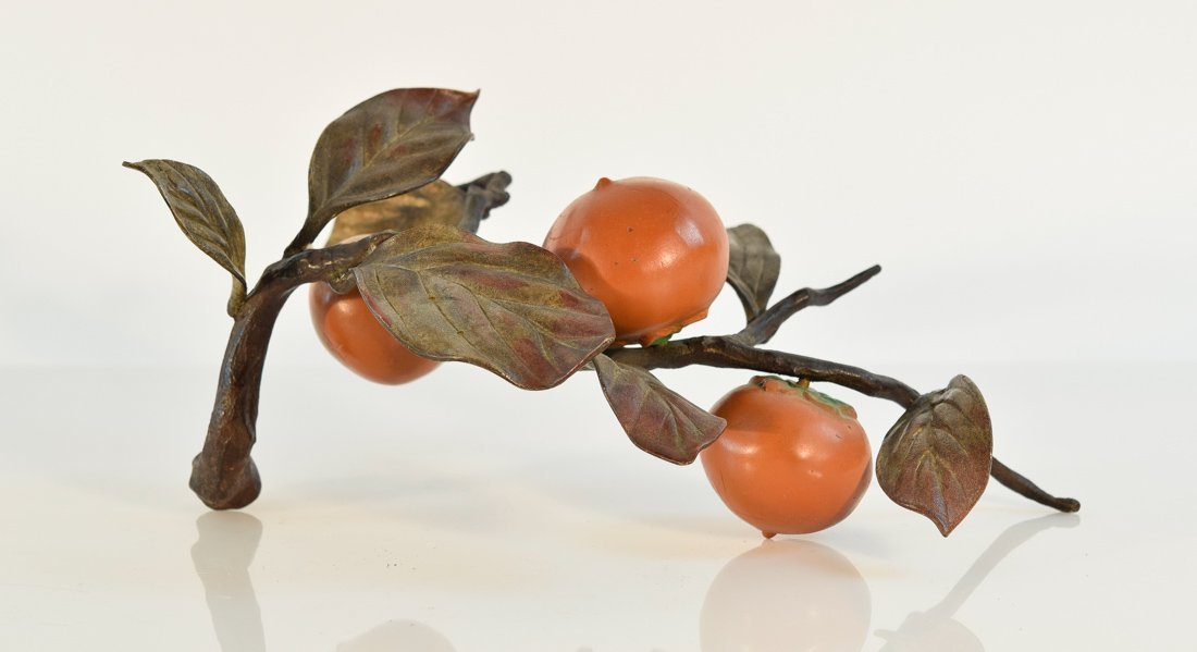 Japanese Bronze Group of Bird and Persimmons - 4
