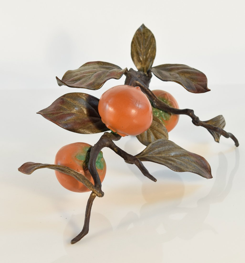 Japanese Bronze Group of Bird and Persimmons - 8