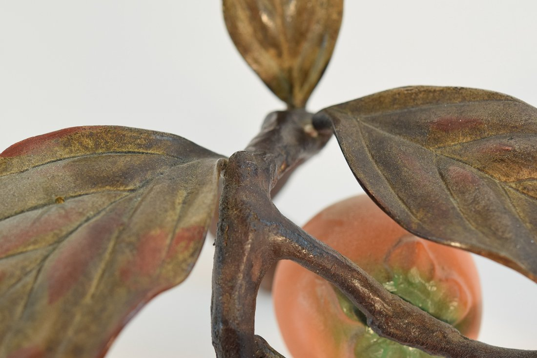 Japanese Bronze Group of Bird and Persimmons - 9