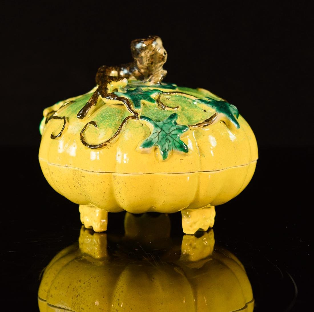 Chinese Porcelain Covered Box with Melon Shape