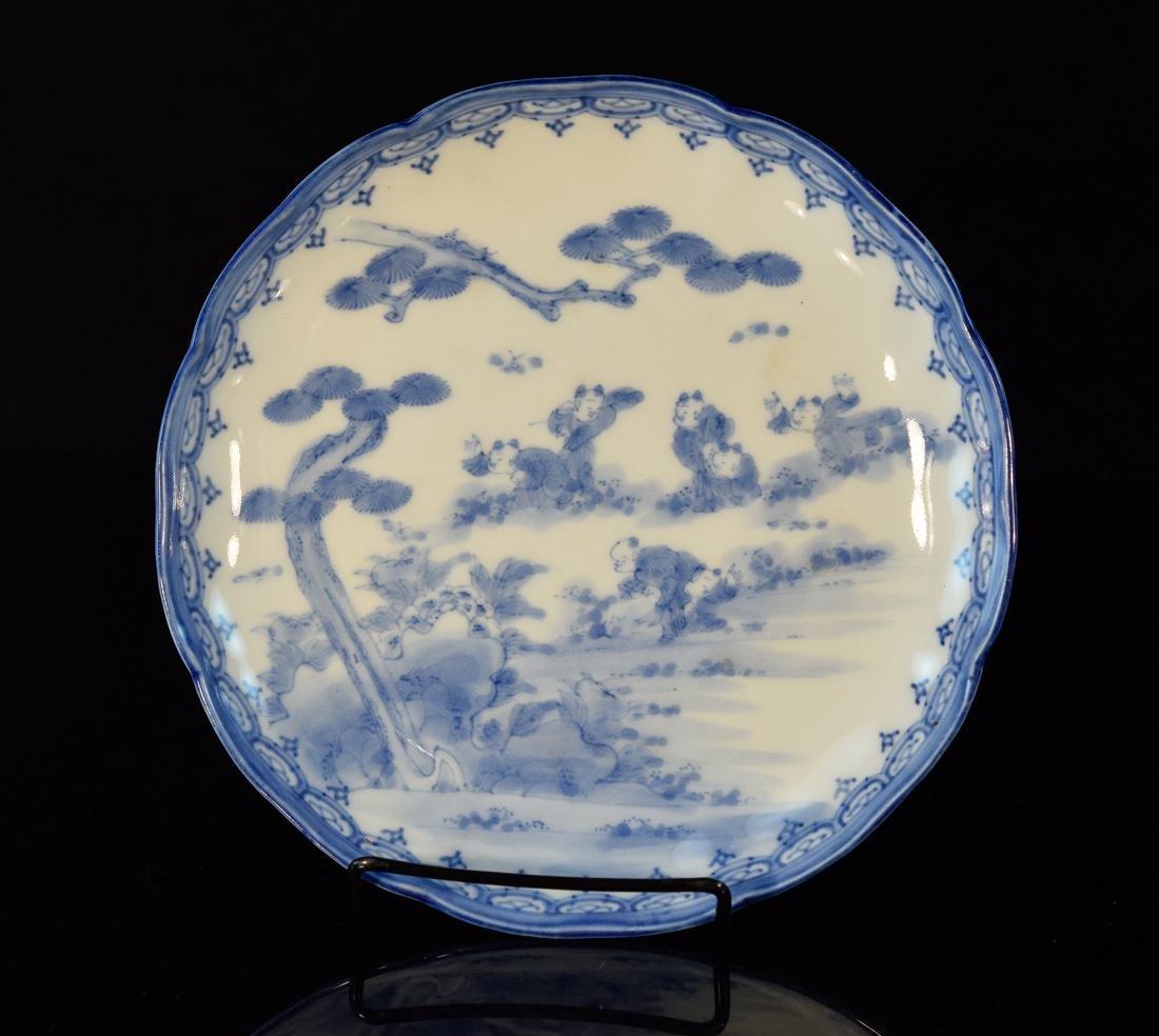 Japanese Hirado Porcelain Dish with Boy Scene