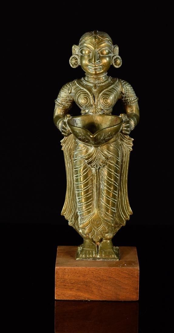 Indian Bronze Standing Offering Deity