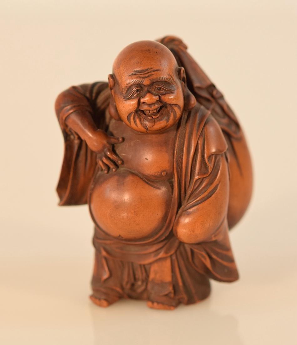 Japanese Boxwood Okimono Carving of a Hotei