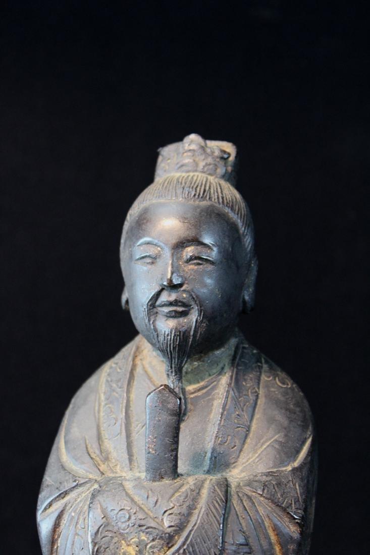Chinese Ming Bronze Standing Figurine - 2
