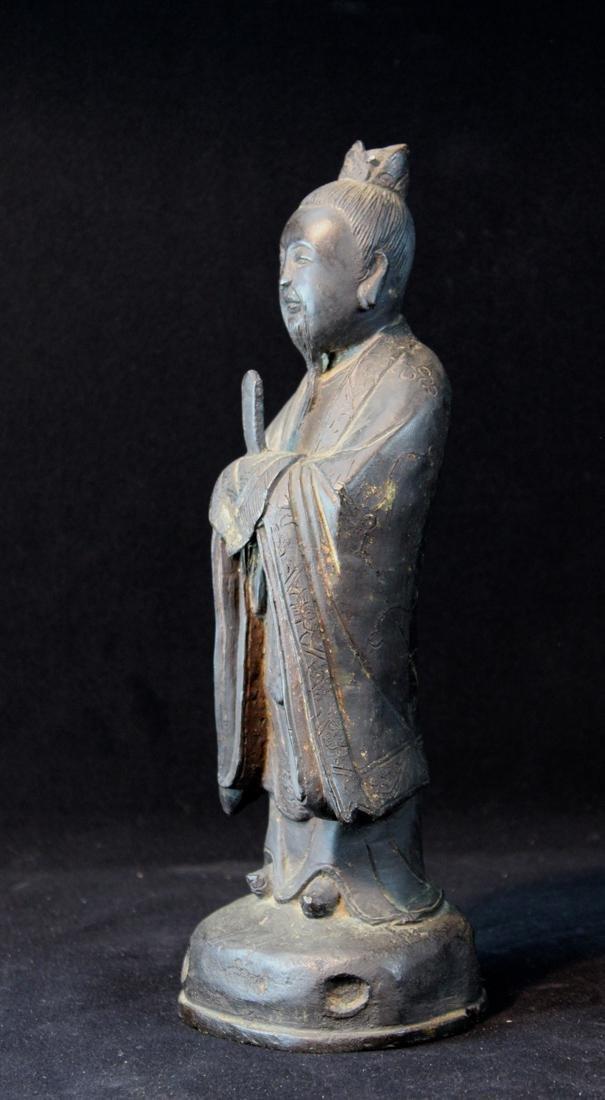 Chinese Ming Bronze Standing Figurine - 3