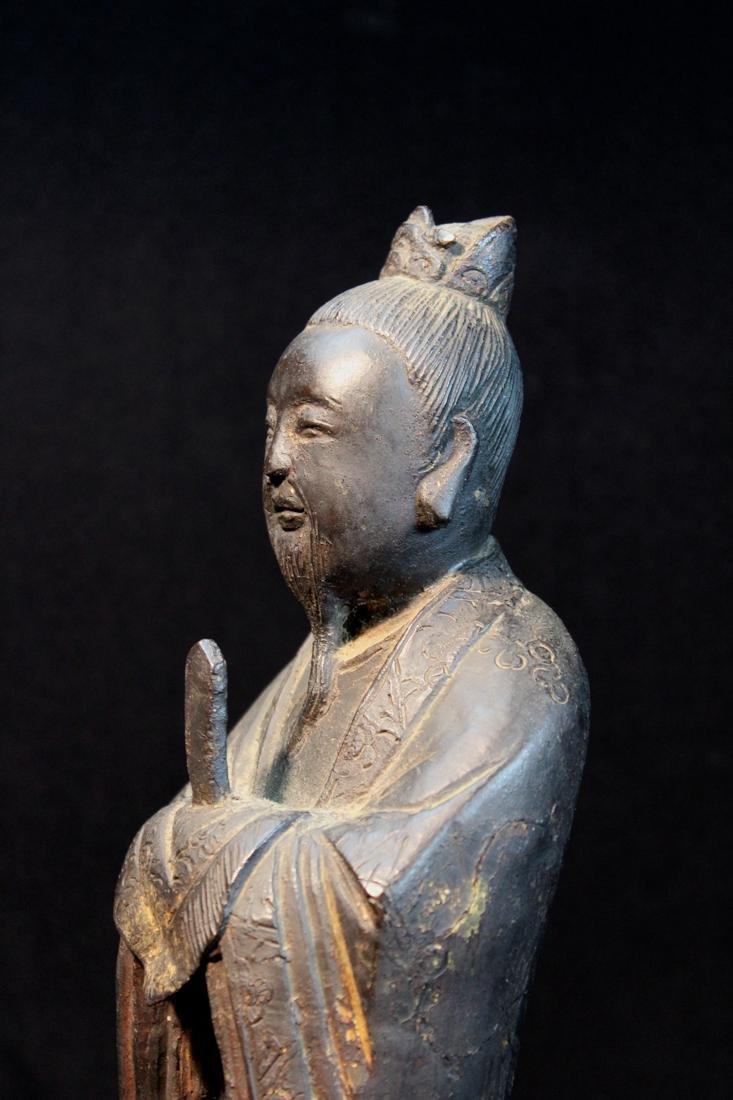 Chinese Ming Bronze Standing Figurine - 4
