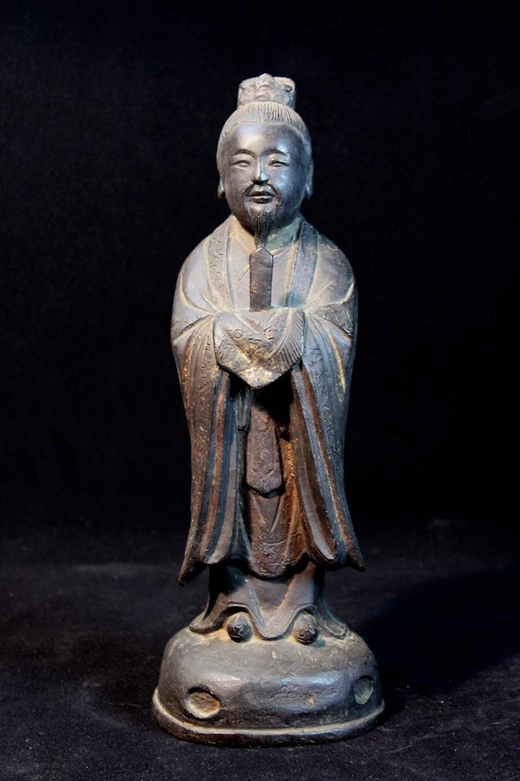 Chinese Ming Bronze Standing Figurine - 6