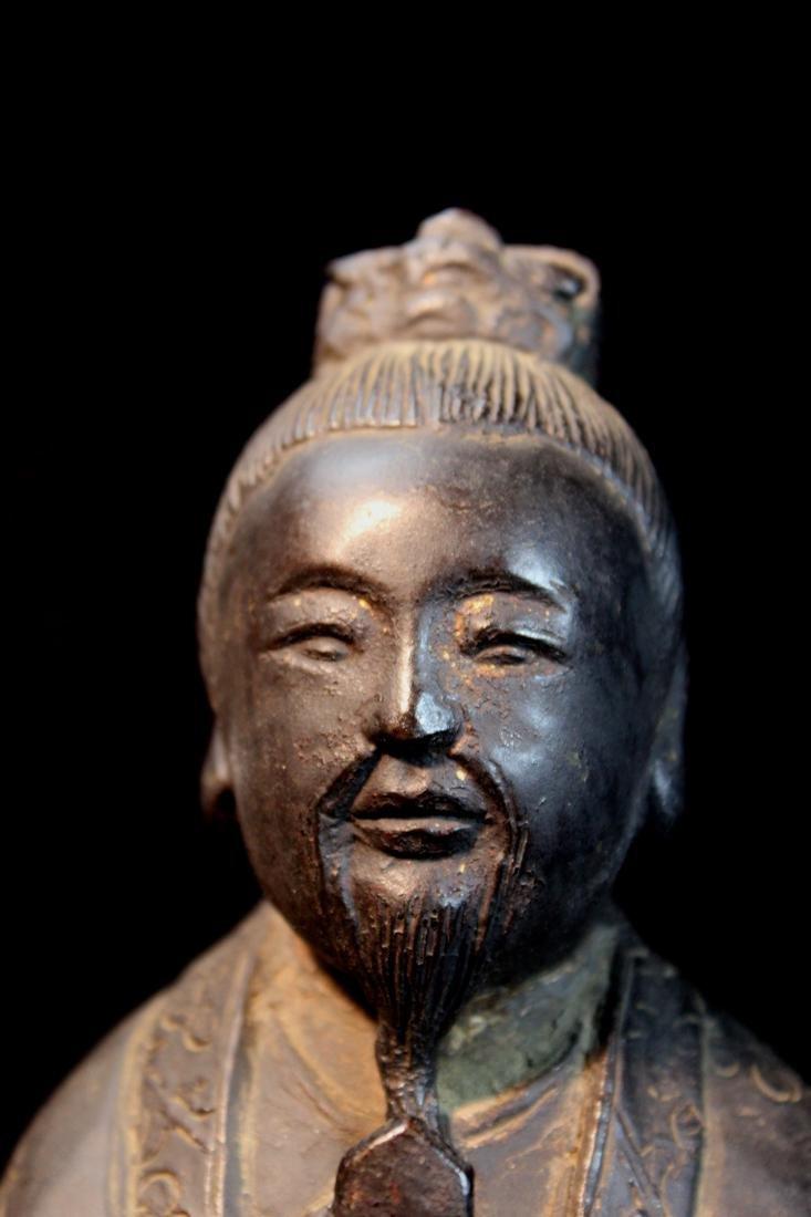 Chinese Ming Bronze Standing Figurine - 7