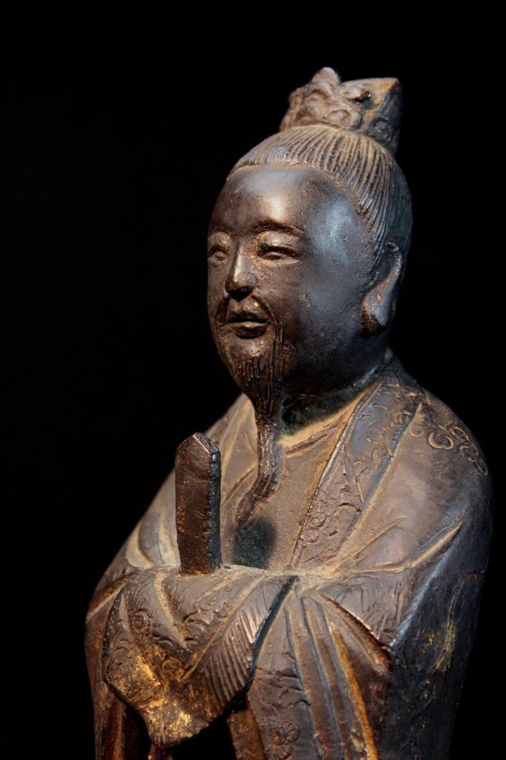 Chinese Ming Bronze Standing Figurine - 8