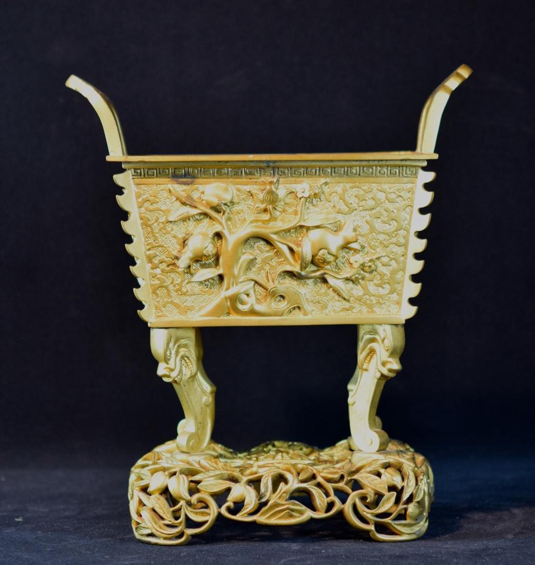 Chinese Gilt Bronze Fan Ding Censer - Peach Motif