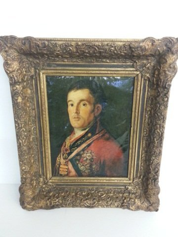 4: Early Framed Oil Canvas With Ornate Gold Fram