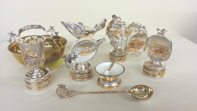 53: 8 pcs Judaica sterling silver artist signed - 2