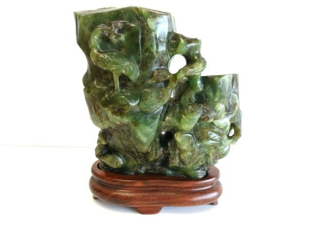 78: Spinach Jade Vase On Stand 18th or 19th Century
