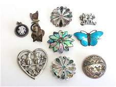 224: 9 pc Lot Vintage Sterling Brooches