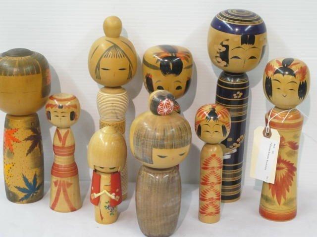 13: 9 Russian Kokeshi Wood Dolls