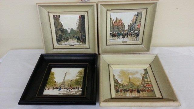 14: 4 Framed Hand Painted Oil Tiles Signed  Maresca