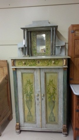 16: Painted  Hutch With Mirror