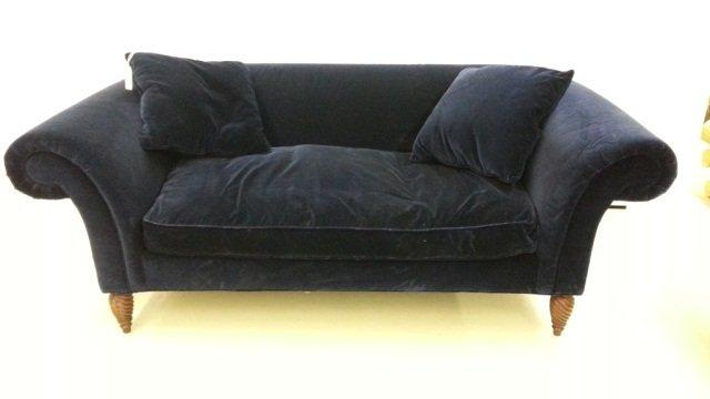 19: O'Henry Blue Velvet Upholstered Sofa