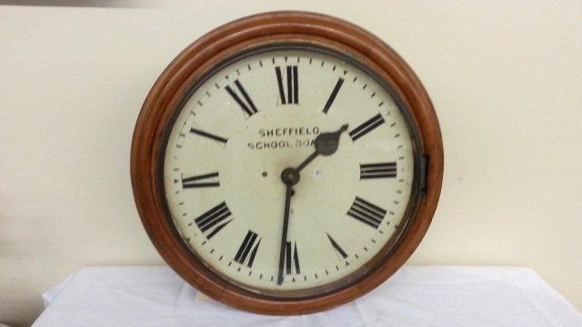 21: Antique Sheffield Oak School Board  Clock