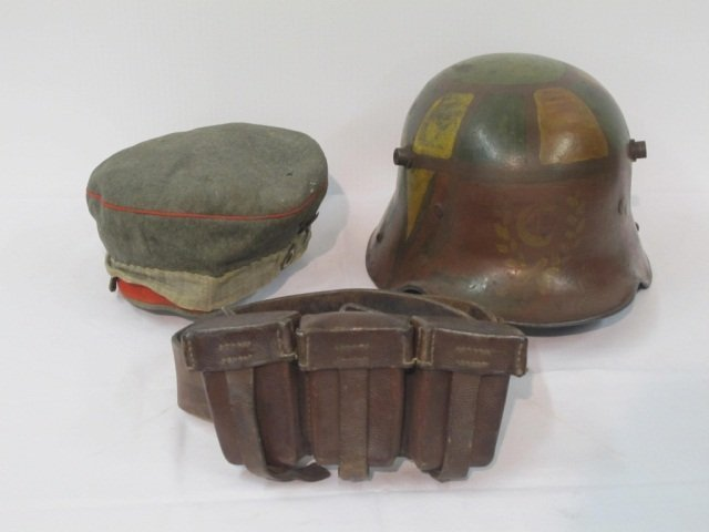 73: 3 pc Military Hat, Helmet, Amo Belt