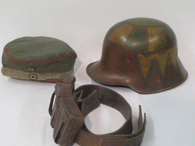 73: 3 pc Military Hat, Helmet, Amo Belt - 2