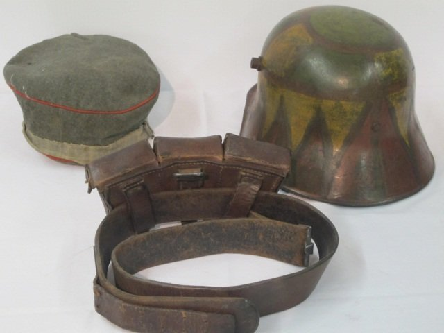 73: 3 pc Military Hat, Helmet, Amo Belt - 3