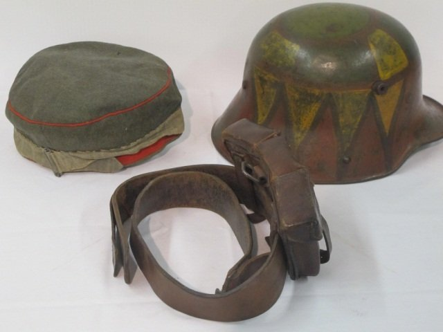 73: 3 pc Military Hat, Helmet, Amo Belt - 4
