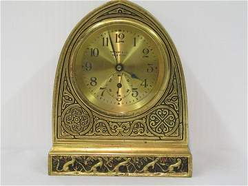 "174: Tiffany Bronze ""Venetian"" Pattern Cathedral Clock"