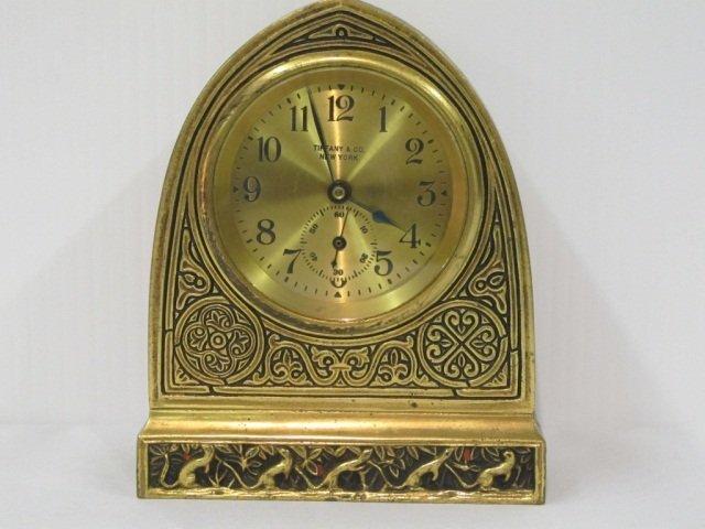 "174: Tiffany Bronze ""Venetian"" Pattern Cathedral Clock"