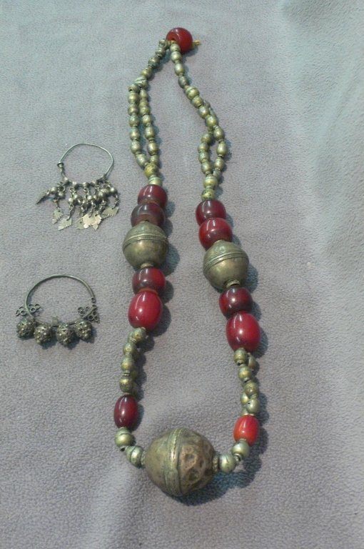 Afghan amber silver necklace 2 ancient earrings