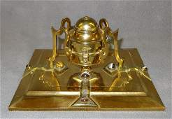 aesthetic movement gilded bronze jeweled desk inkwell