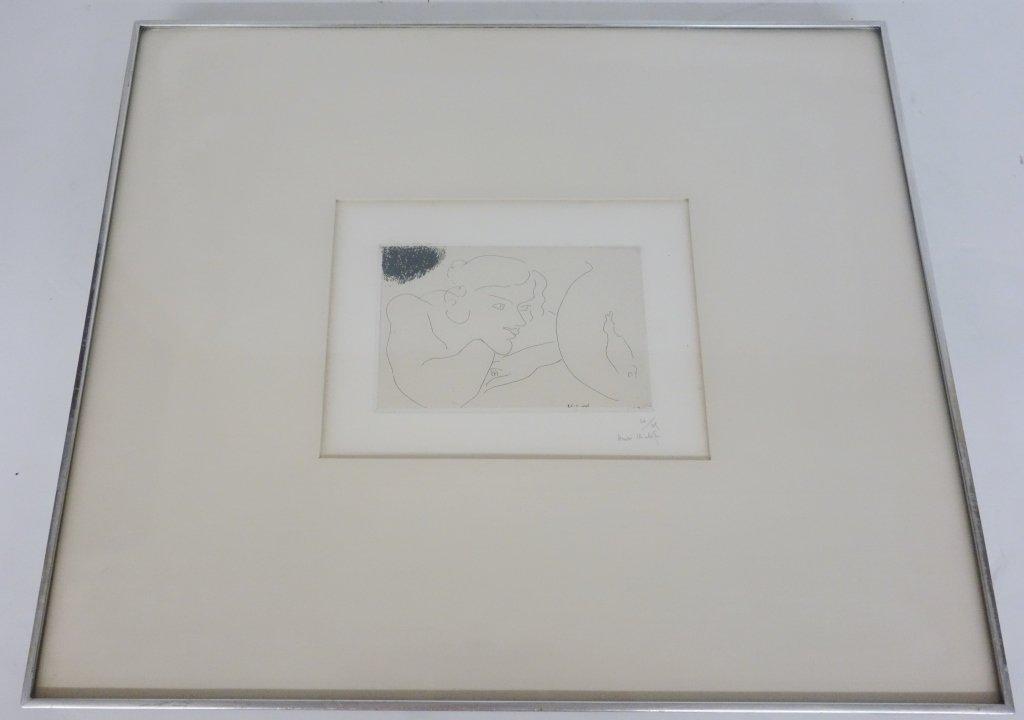 """Henri Matisse drypoint """"Girl Regarding Goldfish"""""""