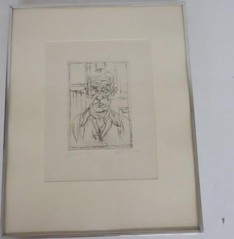 Alberto Giacometti signed male portrait lithograph