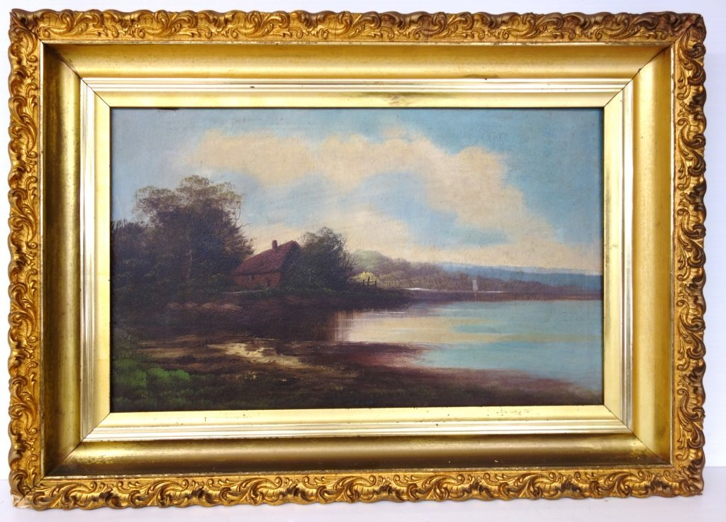 Oil on canvas house by lake scene