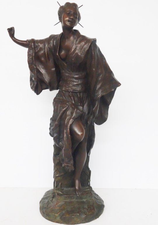 Large Oriental woman bronze statue by G. Leroux