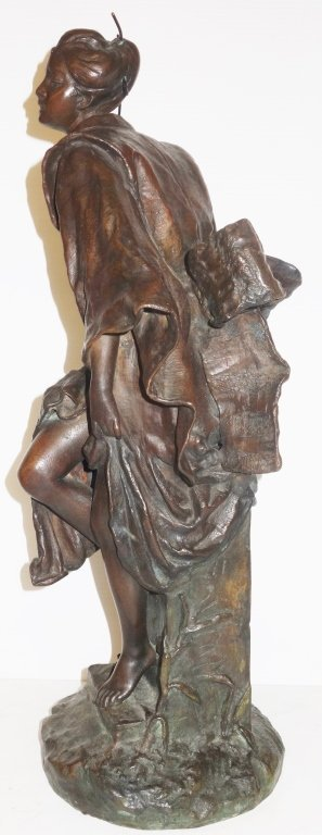 Large Oriental woman bronze statue by G. Leroux - 4