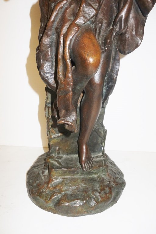 Large Oriental woman bronze statue by G. Leroux - 5