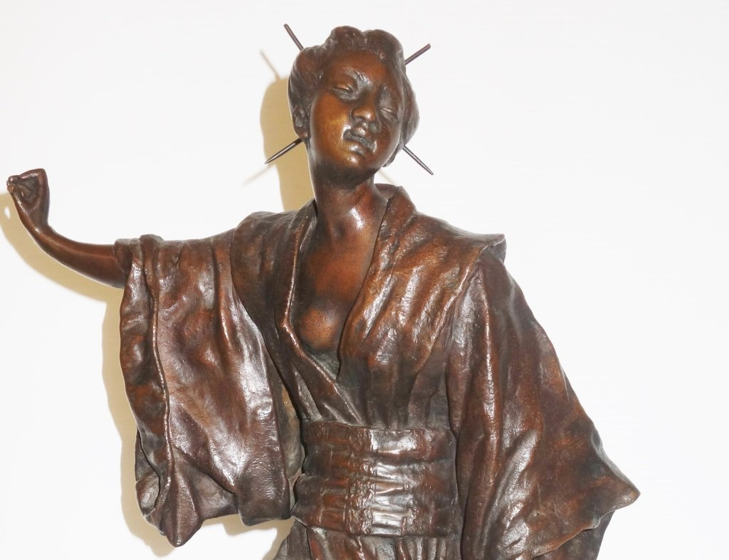 Large Oriental woman bronze statue by G. Leroux - 6