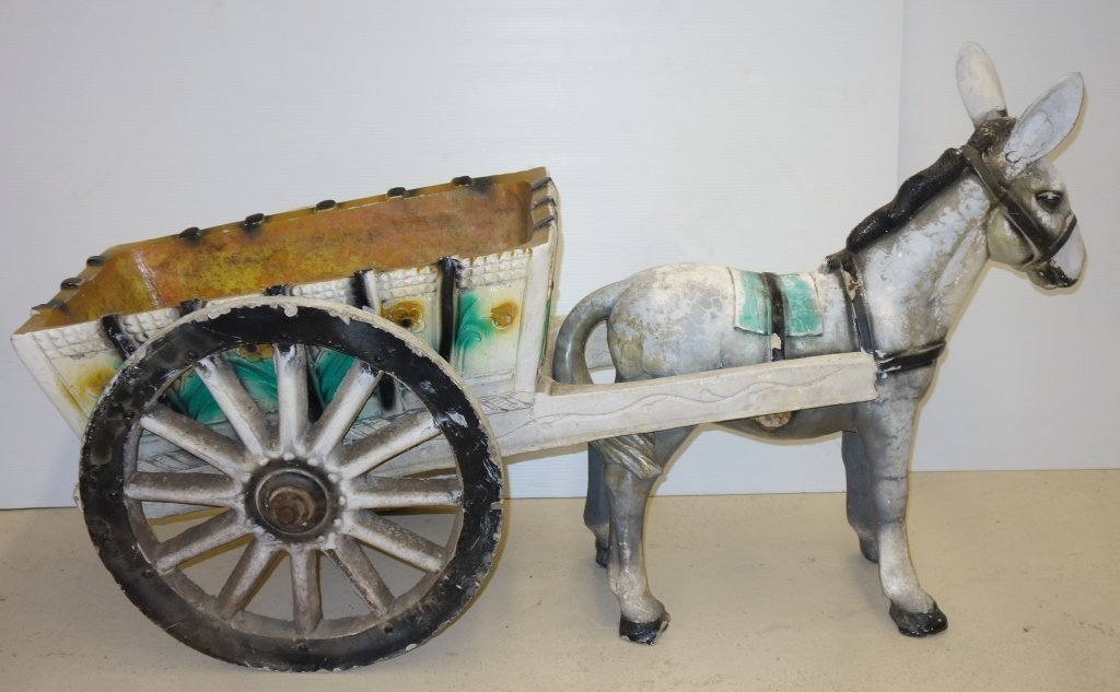 Donkey Cart Concrete Outdoor Statues