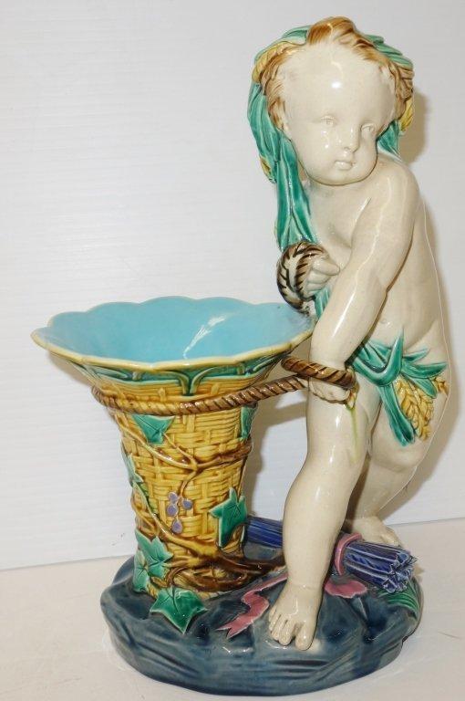 19th century Minton cherub with vase