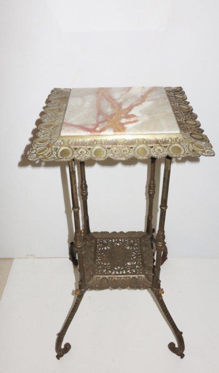 Marble top 2 tier bronze pedestal table