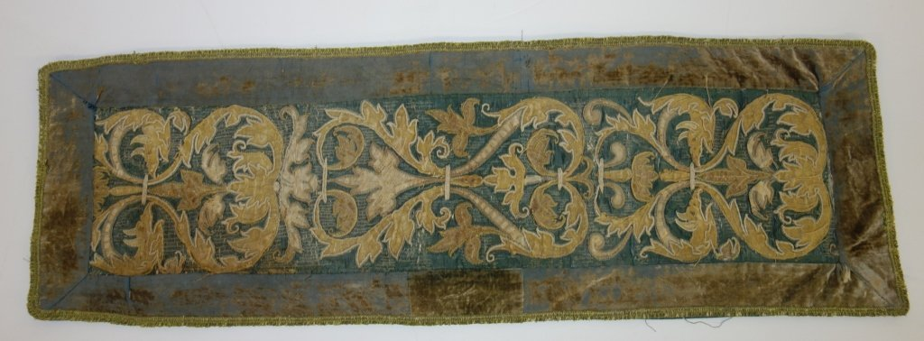18th century French green table runner