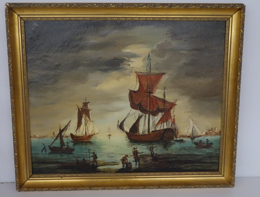 Oil on canvas G, lawrence  sailboats at sea
