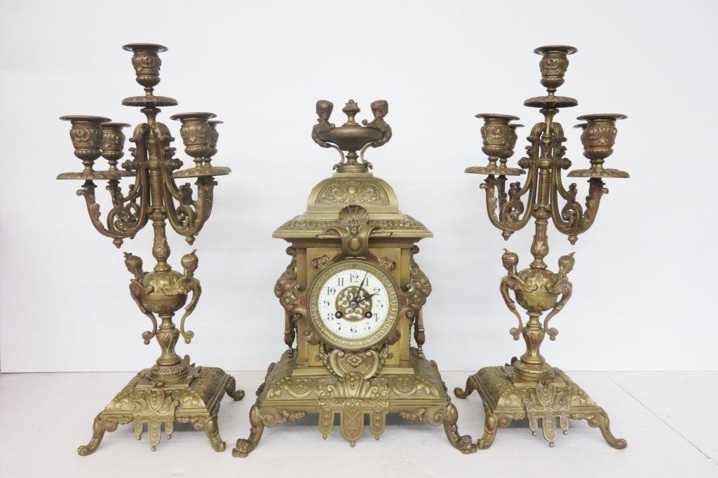 Antique 3 pieces ornate bronze clock set